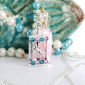 Pink Carousel Pixie Bottle Necklace